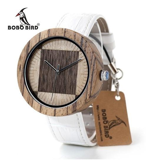 Relógio Madeira Analóg Bobo Bird O14 Único!