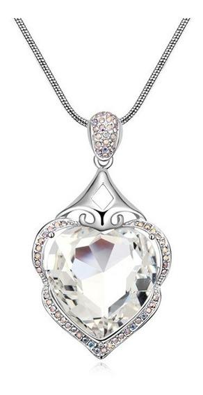 Collar Con Cristales, Amor De Cristal Acj7-14-58 -baño De Or