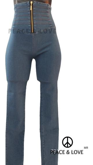 Mallas Leggins Pantalon De Mezclilla Tiro Alto Costillero