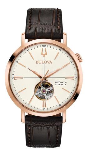 Relógio Masculino Bulova Classic Rosegold Couro 97a136