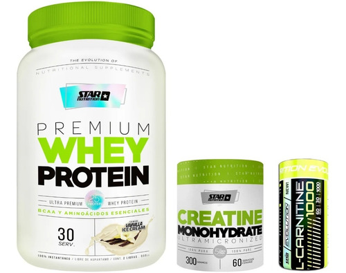 Proteina 1kg + Creatina 300 Grs + Carnitina Star Nutrition