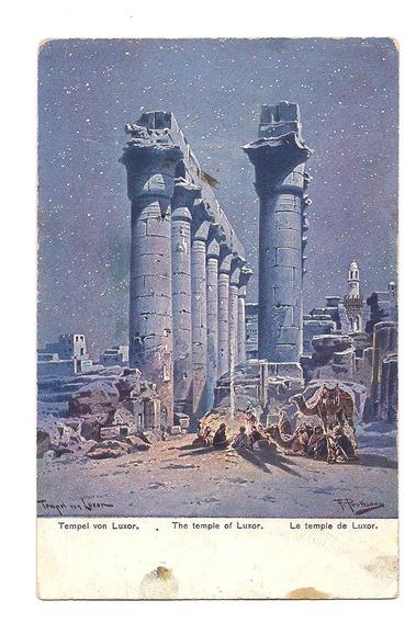 Antigua Postal Templo De Luxor Tebas Egipto Amon Ra 544