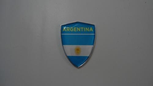 Escudo Auto-adesivo Cromado Resinado Argentina