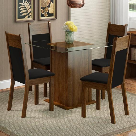 Sala De Jantar Madesa Anita Mesa Tampo De Vidro 4 Cadeiras