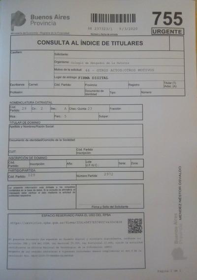 Informe Dominio Inmueble -titularidad Urgente