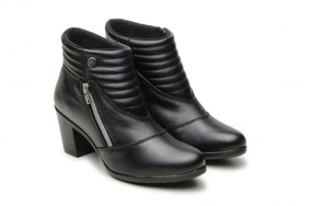 Bota Coturno Feminina Ankle Boots Com Ziper Lateral Couro