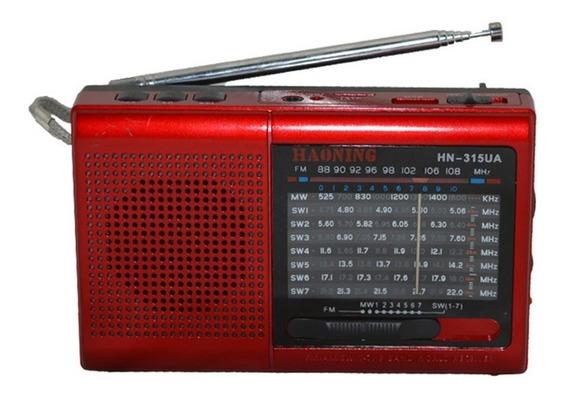 Rádio Receptor Haoning Hn-315ua Am/fm/sw Multibanda Bateria