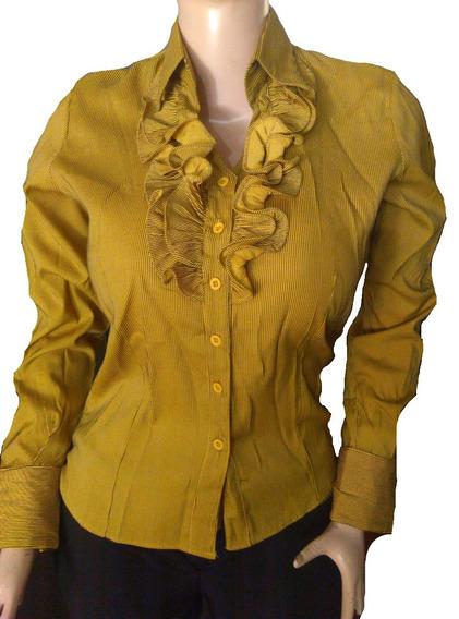 Camisa Manga Larga Amarillo Con Raya De Vestir Dama Talla S