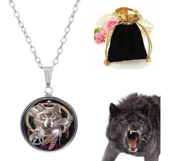 Colar Pingente Lobo Apache Filtro Dos Sonhos Wolf