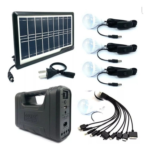 Kit Panel Solar+4 Bombillos+batería+linterna Auto Cargador