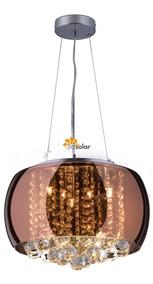 Lustre Pendente Cristal Cobre 40cm Startec - Lâmpada Inclusa