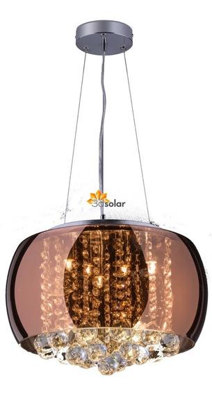Lustre Pendente Cristal Cobre 40cm - Lâmpada Inclusa