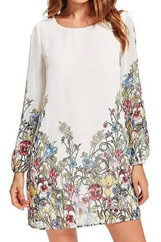 Vestido De Gasa Blanca Floral Tallas Xs Y S Nuevo Importado