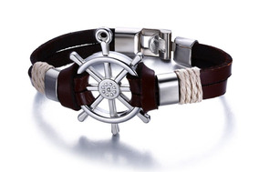 Bracelete Pulseira Masculino,aço Inoxidável,couro, Barato