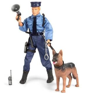 Muñeco De Policía Articulado Con Perro Mas Accesorios