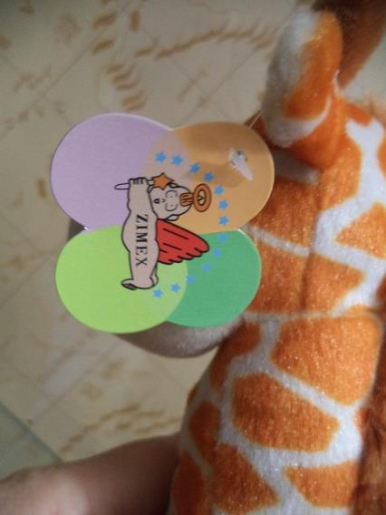 Girafa De Pelucia Pequena Antiga Com Etiquetas