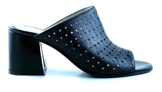 Zueco Cuero Mujer Briganti Zapato Taco Picado - Mcsu48038