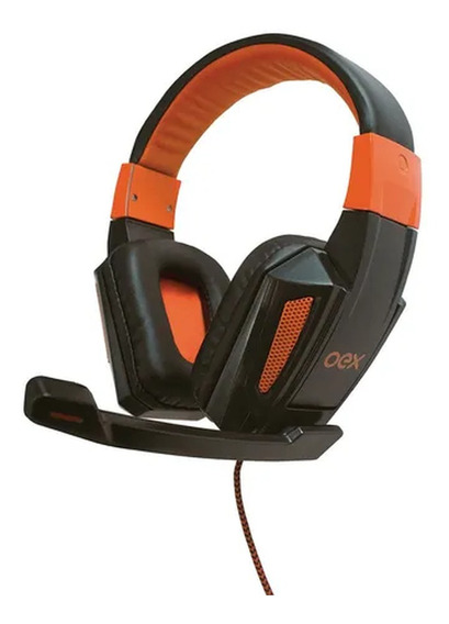 Headset Gamer Oex Combat Hs205 Para Pc - Preto E Laranja