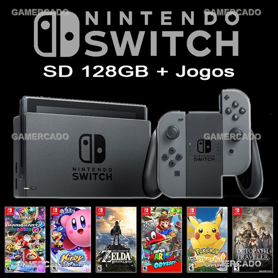 Nintendo Switch Desbloqueado + Sd 128gb + Case + Sem Juros