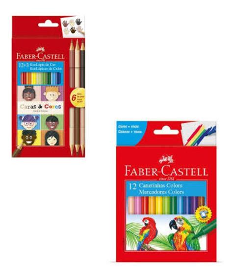 Kit Com 12 Canetinhas E 12 Lápis De Cor Faber Castell