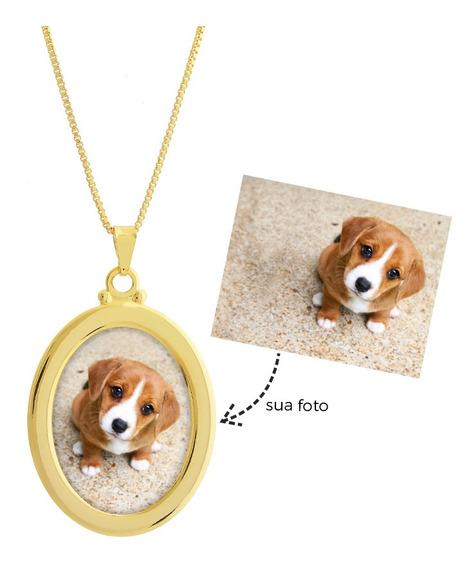 Colar De Foto Personalizado Oval Liso Semi Joia Dourado