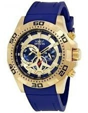Relógio Invicta Aviator Original Dourado Com Azul