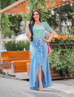 Saia Jeans Longa Recortes Destroyed Moda Evangelica Joyaly