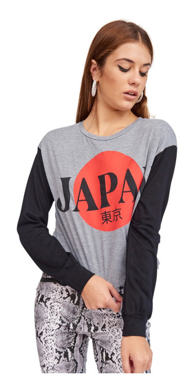 Remera Japan Manga Larga Estampa Con Letras Mujer 47street