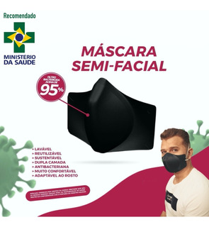 Kit 6 Máscaras Reutilizável C/ Camada Tripla Antibacteriana