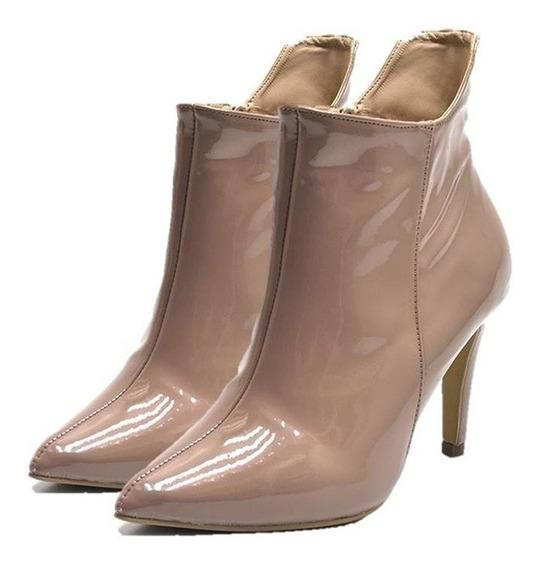 Bota Feminina Sapatos Bico Fino Verniz E Jeans Promoções