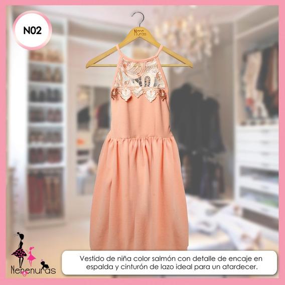 Vestido Elegante De Niña Color Coral