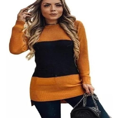Vestido Camisão Longo Manga Longa Tricô Outono/inverno K073