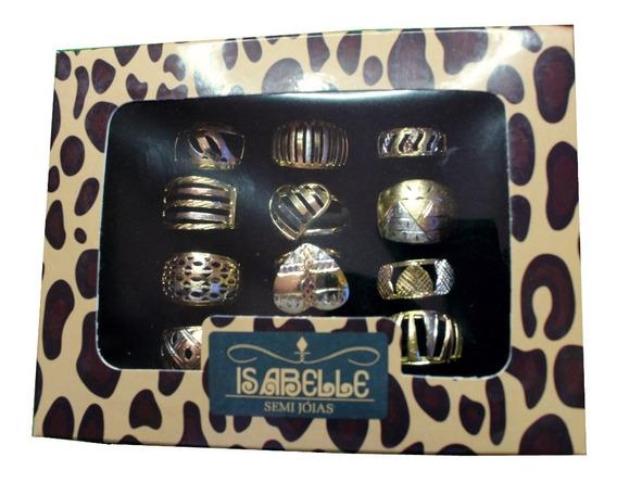 Anéis Três Cores Kit 12 Peças ( Estilo Dos Modelos Em Ouro)