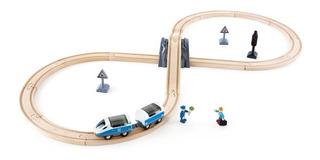 Pista Tren Hape Juguete Madera Didáctico Trenes Juego Vías