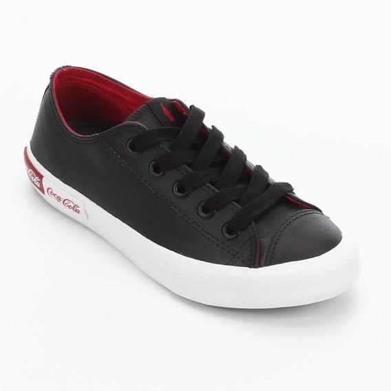 Tênis Fem. Coca Cola Shoes Blend Leather Preto Cc1752