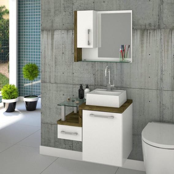 Gabinete Armário P/banheiro C/cuba Q32+espelheira Legno 630*
