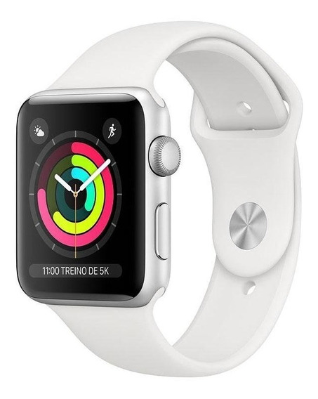 Apple Watch Series 3 Gps 38mm Prata Pulseira Branca