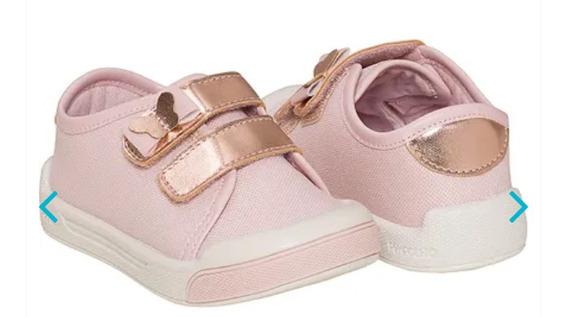 Tênis Infantil Feminino Com Velcro Pimpolho 16 Ao 27