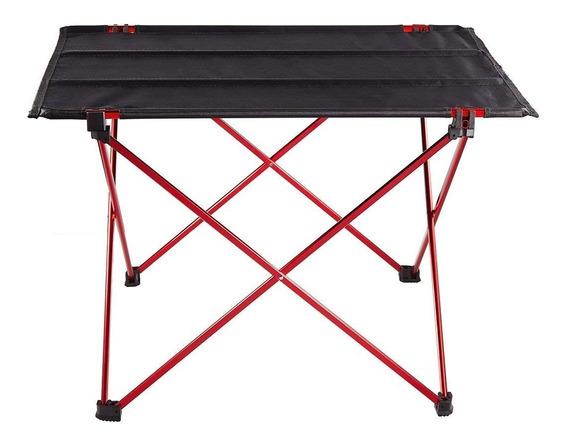 Mesa Camping Dobravel Aluminio E Nylon Com Sacola Transporte 57x43cm Desmontavel Muito Resistente Leve E Portatil Praia