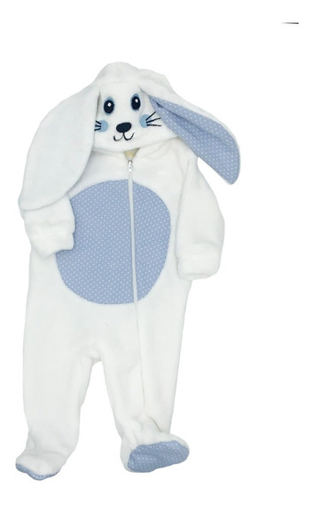 Mameluco Con Gorro Bordado Conejo Azul