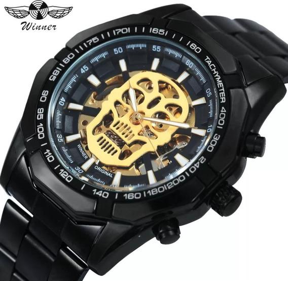 Relógio Winner Original Caveira Mais Caixa