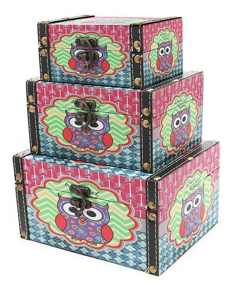 Conjunto 3 Caixas Organizadoras Em Madeira Baú Decorativas