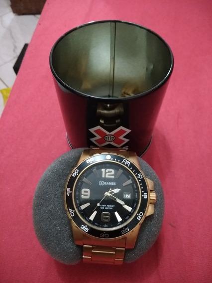 Relógio X-games Dourado Com Nota Original Na Caixa