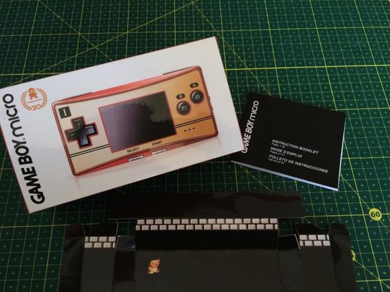 Game Boy Micro Edição Mario 20 Anos (somente Caixa E Manual)