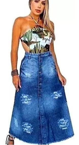 Saia Jeans Moda Evangélica Longa Com Botões E Bolsos
