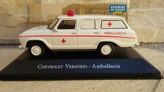 Miniatura Veraneio Ambulância 1/43 Caixa Acrilíco Trincada