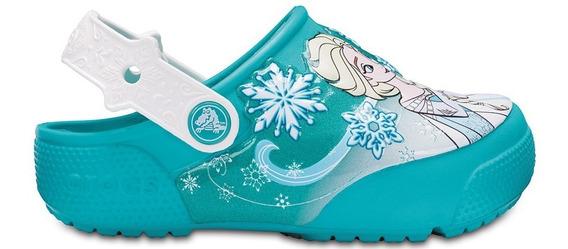 Crocband Originales Funlab Clog Frozen Luces Celeste Niños