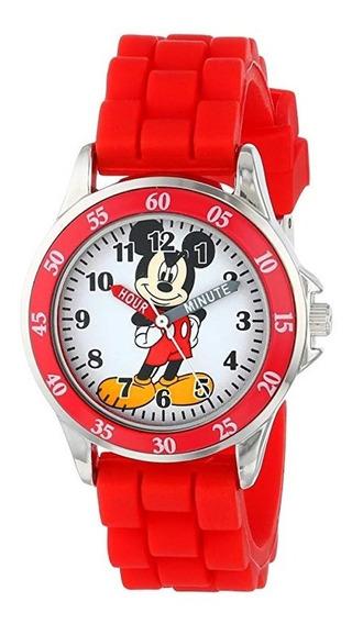Disney Mickey Mouse Mn1157 Reloj Rojo, Correa De Goma