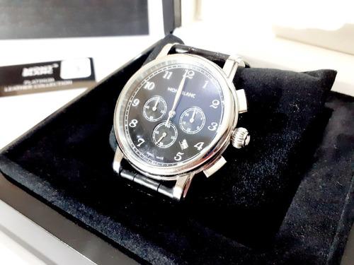 Relógio Montblanc Preto Com Pulseira Em Couro Bovino
