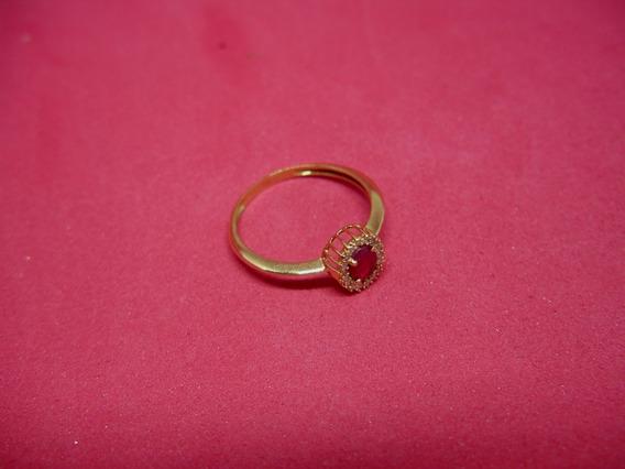 Anel Em Ouro 18/750, Rubi Natural E Brilhantes .